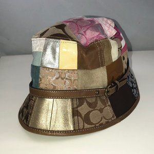 COACH Bucket Hat Leather Patchwork Jacquard # 1252